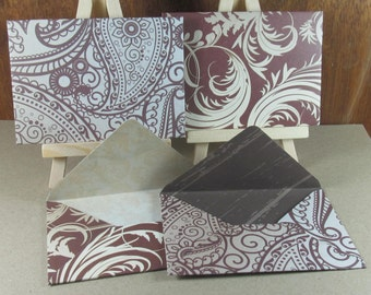 4 A7 Handmade envelopes in chocolate and cream henna patterns and flourishes, coloured inside