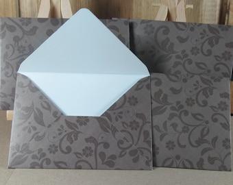 4 Mini A7 Handmade envelopes, chocolate brown floral motif. Thank you, Weddings, birthday cash, gift giving, invitation