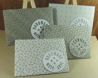 4 A7 Handmade With Love motif envelopes in shades grey and cream