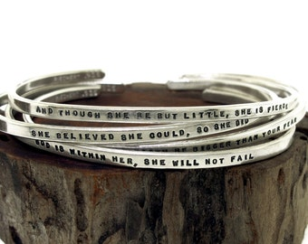 Silver Bracelet, hand stamped sterling cuff bracelet custom made with your chosen message, personalized jewelry, silver jewelry, bridesmaid