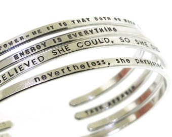 Personalized Bracelet, custom hand stamped sterling silver cuff with your chosen message, stacking bracelets