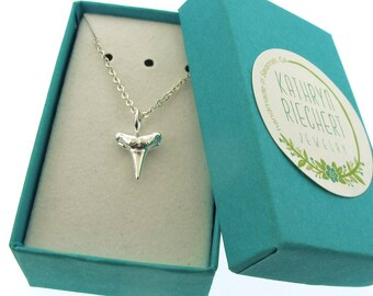 Silver Shark Tooth Necklace, petite silver charm necklace by Kathryn Riechert