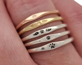 Tiny Itty Bitty Paw Print Ring, minimalist sterling silver or gold pet lover ring