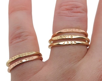 Stackable Name Ring, dainty name ring in 14K Yellow Gold or Rose Gold, personalized gold ring, mom ring, stacking ring