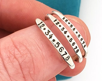 Date Ring, personalized silver ring with your date, stacking ring by Kathryn Riechert
