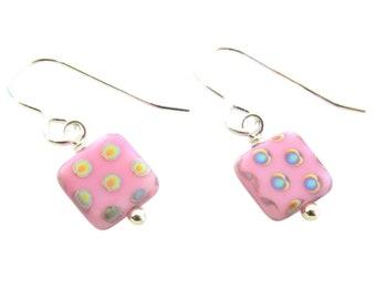Pink Polka Dot Earrings, small square dangles
