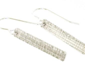 Minimalist Earrings, papyrus texture imprinted onto sterling silver, everyday earrings, coworker gift by Kathryn Riechert