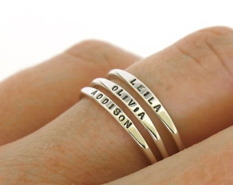 Stackable Name Ring, dainty name ring, personalized ring with your word choice, mom ring, stacking ring