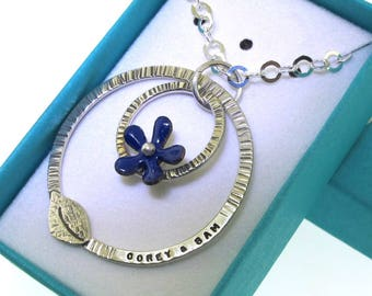 Family Tree Necklace with Flower, hand stamped and custom made with your childrens names, personalized necklace, mothers day, gift for mom