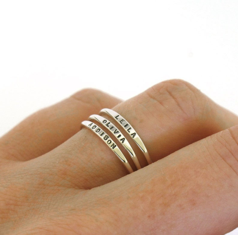 Stackable Name Ring dainty name ring personalized ring with image 0