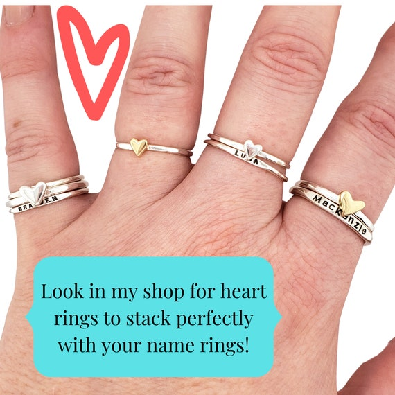 Gift For Her Stacking Band Custom Ring Rose Silver Gold Stainless Ring Personalized Stackable Stack Ring Stacking Rings. Name Ring