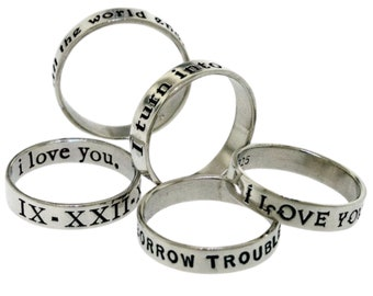 Personalized Ring custom hand stamped with your message, Sterling Silver Posey Ring (Original), custom messages on the inside or outside