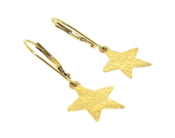 Gold Star Earrings, solid 14k yellow gold