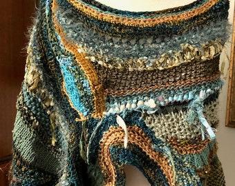 OOAK - Freeform Cowl - Poncho - Knit & Crochet - Original Design