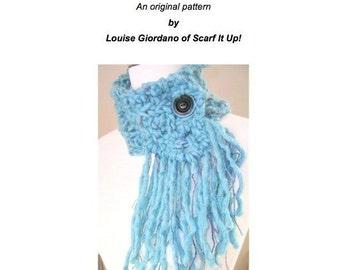 Neck Wrap Collar Cowl Cachecol PDF Original Design Asymmetrical Knitting Pattern