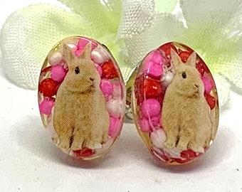 Bunny Earrings Sprinkles- Cute Bunny Jewelry- Small Rabbit Earrings- Kawaii Rabbit Jewelry-Whimsical Earrings- Bunny Lover Gift- Pet Jewelry