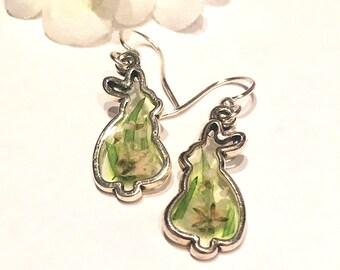 Cute Bunny Earrings Aki- Small Rabbit Earrings- Dried Flower Bunny Jewelry- Dainty Earrings- Animal Earrings- Bunny Gift- Nature Earrings