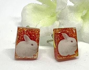 Bunny Earrings Nigel- Kawaii Rabbit Jewelry- Cute Bunny Jewelry- Small Rabbit Earrings- Gift for Her- Gift for Daughter-Bunny Post Earrings