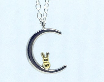 Gold Bunny Necklace Moon Hop- Bunny Over the Moon- Moon Rabbit- Bunny Rabbit Jewelry- Bunny Jewelry- Cute Bunny- Rabbit Lover Gift- Holiday