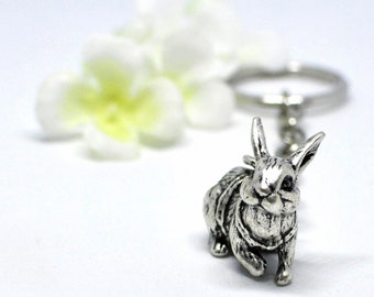 Bunny Rabbit Keychain Out for a Walk - Bunny Accessory  - Bunny Keychain - Bunny Rabbit Inspired -Pet Bunny Rabbit -Rabbit Accessory -Nature