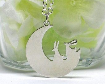 Two Bunny Necklace Duo Moon - Rabbits on the Moon- Bunny Rabbit Jewelry- Bunny Jewelry- Cute Bunny- Rabbit Lover Gift- Rabbit Necklace
