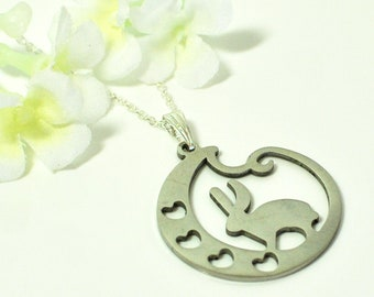 Bunny Jewelry Valentine- Silver Bunny Rabbit Necklace- Bunny Pendant- Valentine Gift for Women- Bunny Gift Woman- Animal Lover Necklace