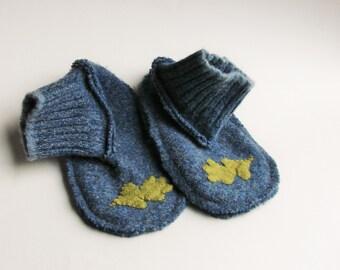 Upcycled Wool Toddler Slipper