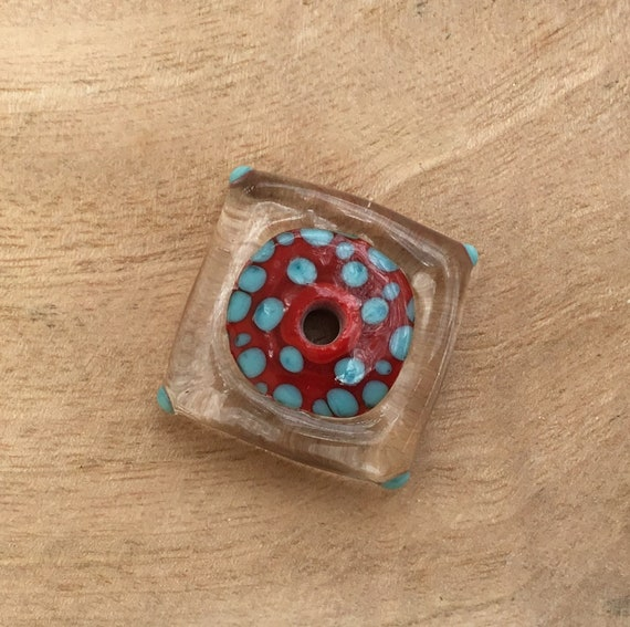 Focal Lampwork Bead Disc Turquoise and Red