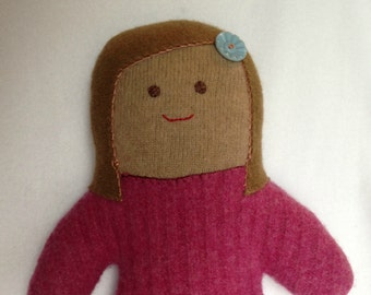 Sweater Dude - HAZEL - Pink Sweater Gal Plush Plushie Doll from Re-purposed Sweaters