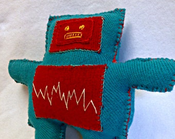Plush Robot Pal - upcycled, repurposed doll - turquoise with red accents - handstitched