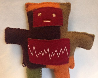 Plush Robot Pal - upcycled, repurposed doll - autumn fall colors - handstitched