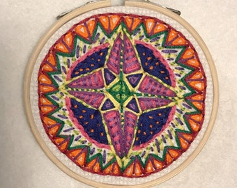 Small Embroidery Hoop Art - Mandala Compass Vibrant North Star South West East Triangles Radiate