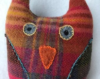Petite Plush Owl Stuffie, Rainbow plaid, Repurposed Upcycled, Sweater Dude & Friends