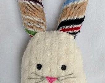 Repurposed Upcycled Star Bunny plush toy - colorful stripes - wool - Easter