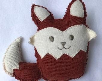 Fox Plush Toy, Repurposed Upcycled Sweater, Woodland Animal