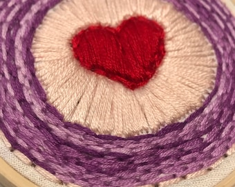 Small Embroidery Hoop Art - Red Heart - purple pale pink