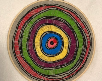 Embroidery Hoop Art - Abstract Circles Multicolor Stitching - eye - evil eye - tree rings