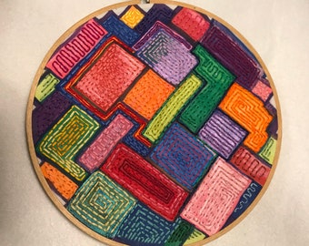 Embroidery Hoop Art - Colorful Abstract Acrylic Paint with Stitching - tree rings - eye -evil eye