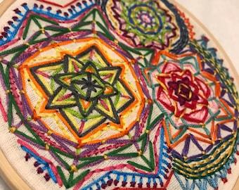 Embroidery Hoop Art - Mandala Multicolor Stitching