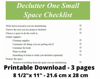 Declutter Checklist How To Clutter-Free Cleaning PDF Instant Download Printable Letter Size