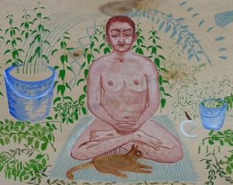 The Buddha In The Stinging Nettles - original painting by Jan Karpíšek