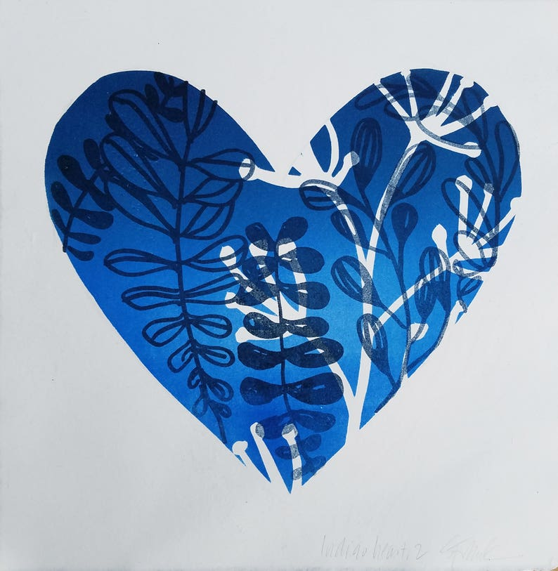 Indigo Heart, 2 - monotype base with polyester lithography layer *  Valentine's Day * OOAK original hand-pulled print