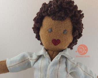 Reserved for Amy Y - Handmade multicultural IndigoMuseFriend heirloom doll with pajamas and slippers
