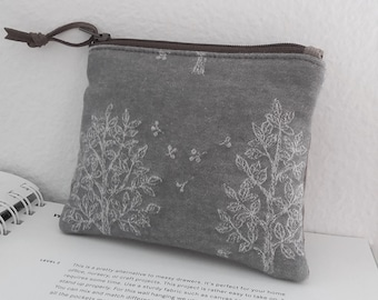 Mini Coin Purse, Small Zipper Pouch, Small Wallet, Card Holder - Padded Zipper Pouch TREE