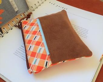 Mini Coin Purse, Small Zipper Pouch, Small Wallet, Card Holder - Padded Zipper Pouch Orange Check