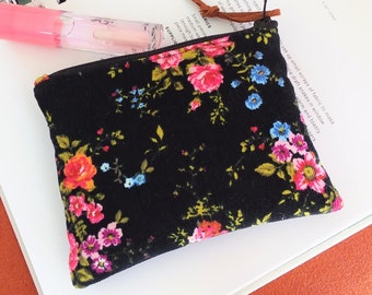 Mini Coin Purse, Small Zipper Pouch, Small Wallet, Card Holder - Padded Zipper Pouch Flower in Night