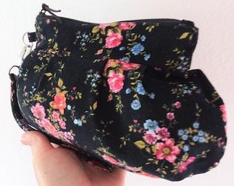 Wristlet Bag, Clutch Bag, Wristlet Purse, Cosmetic Bag, Zipper Pouch, Clutch Purse, Wallet, Bridesmaid - Flower in Night
