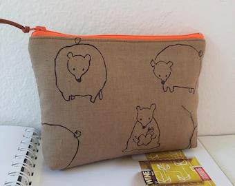 Cosmetic Bag, Zipper Pouch, Clutch Purse, Wallet, Bridesmaid - Padded Zipper pouch Bear