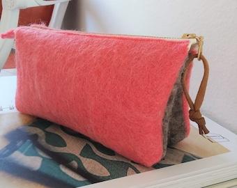 Felt Storage Zipper Pouch, Cosmetics Travel Bag, Zipper Pouch, Clutch Purse, Wallet, Bridesmaid - PINK