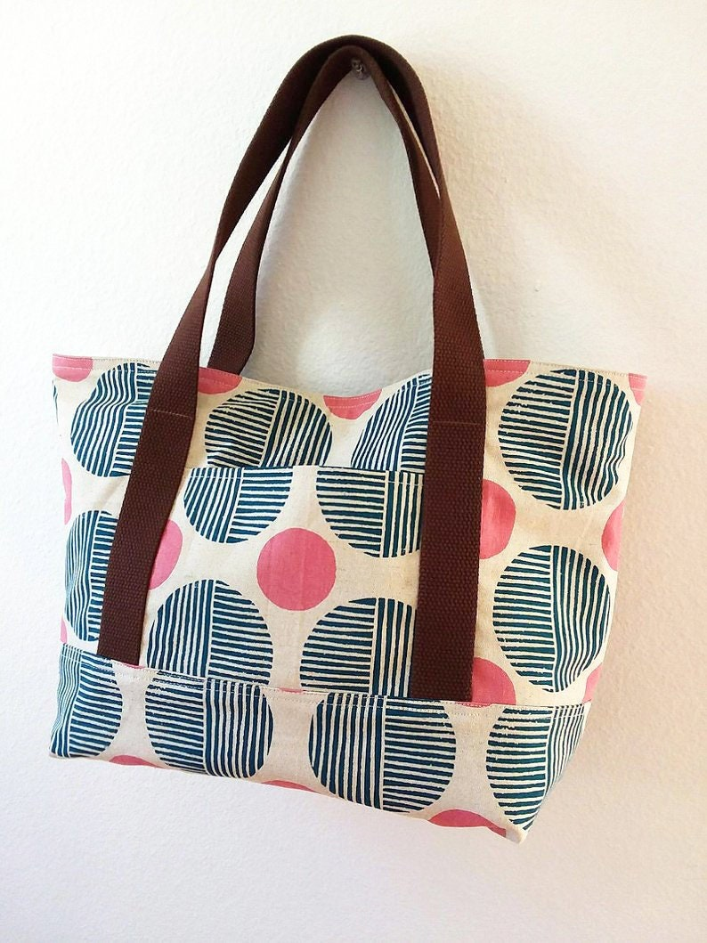 navy Everyday Tote Bag stone path Imagined Landscapes canvas